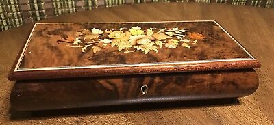 Vintage Reuge Floral Inlay Wood Music Box Swiss Movement Made In Italy