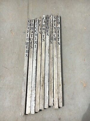 set of 9 ANTIQUE fence post pickets w/Garden vegetables name SIGNS 33.5 x 1 3/8""