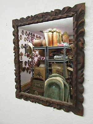 Rustic Antique Carved Mirror #5-Mexican-20.5x24.5-Primitive-Gorgeous-Dark