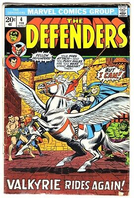 S953. THE DEFENDERS #4 by Marvel 2.5 GD+ (1973) BARBARA NORRIS Becomes VALKYRIE`