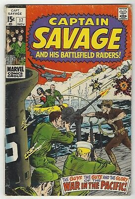Captain Savage And His Leatherneck Raiders 17! G/vg 3.0! Cool Bronze Age Marvel!