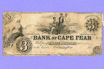 1853 $3 Bank of Cape Fear Wilmington North Carolina VERY RARE NOTE LOWER GRADE