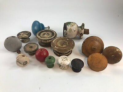 Lot Of 16 Antique/vintage Assorted Old Painted Wood Door & Cabinet Knobs