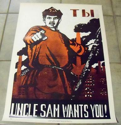 Uncle Sam Wants You Soviet Russia Red Army Recruiting Vietnam Anti War Poster