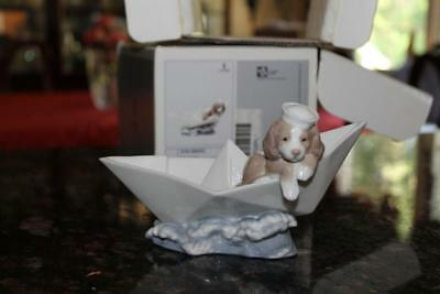 Lladro 6642 Little Stowaway Puppy Dog on Paper Boat Figurine Statue with Box