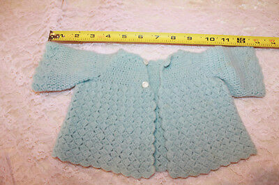 Vintage Crochet Baby Sweater Blue Newborn or Doll size