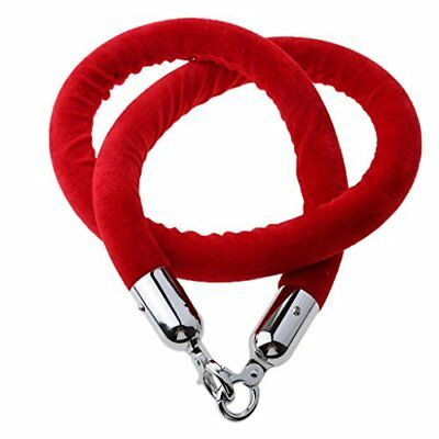 1.5 Meter Stanchion ROPES Red Control Rope Crowd Velvet Queue Line Barrier Silve