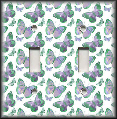 Metal Light Switch Covers & Outlets - Purple And Green Butterflies Home Decor 02