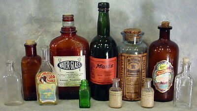 LOT OF 11 VINTAGE BOTTLES TONIC WHITE AND BROWN Moxy