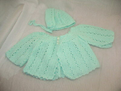 VINTAGE Handmade CROCHET Baby or LARGE Doll Sweater & Bonnet MINT GREEN