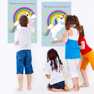 Pin the Horn on the Unicorn Birthday Party Favor Games Kids Party Supplies