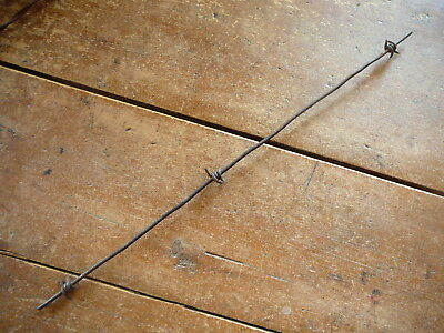 JAYNE & HILLS  LOCKED STAPLES on ONE GROOVED SQUARE LINE  - ANTIQUE BARBED WIRE