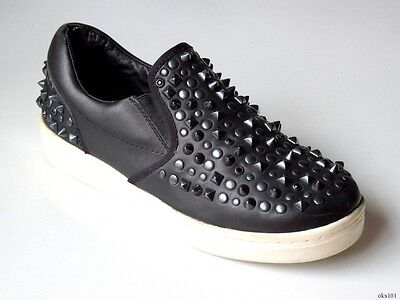 75f6fa7f3 ASH black leather ALL STUDDED SPIKES loafers sneakers shoes 39 US 9 -  amazing