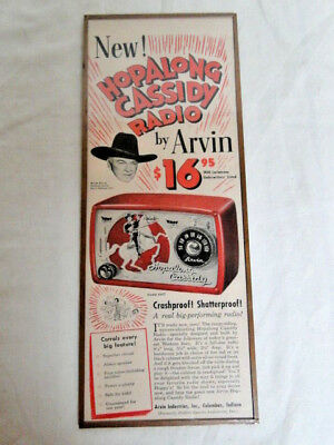 1950 Red Hopalong Cassidy Radio by Arvin vintage music advertisement w/COA