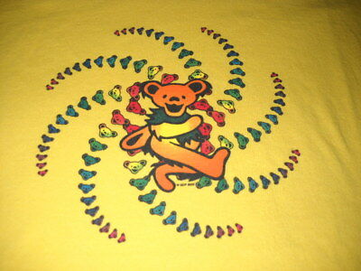 Grateful Dead Spiral Dancing Bear Hippie Kids Yellow T-Shirt Large 14-16-New