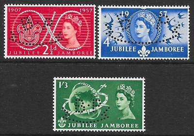 "1957 Jubilee Jamboree Set with Fancy ""BP"" (Baden-Powell) Perfin"