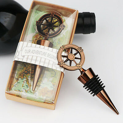 Nautical Compass Wine Bottle Stoppers Wedding Guest Favors Party Gift Souvenirs