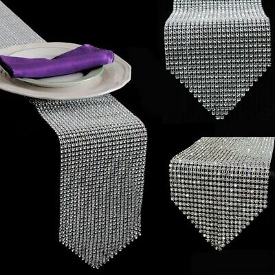 Diamond Mesh Table Runner Wrap Roll Rhinestone Ribbon Crystal Wedding Crafts