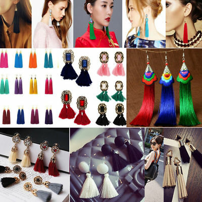 Fashion Women Bohemian Long Tassel Fringe Boho Ear Stud Dangle Earrings Jewelry