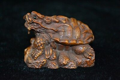 Collectible chinese vintage Old boxwood myth dragon turtle rare netsuke Statue