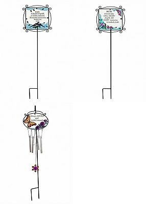 Graveside Glass Plaque Wind chime  Memorial Cemetery Tribute mum dad