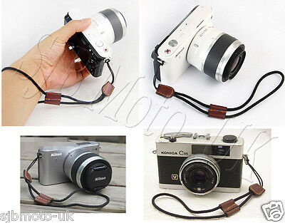 Nylon/Leather Hand Wrist Strap for Canon Powershot Nikon Coolpix FinePix Sony