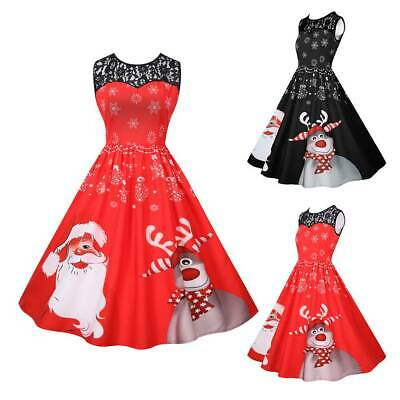 AU Women Christmas Santa Printed Swing Dress Xmas Party Mini Dress Skirt Skater