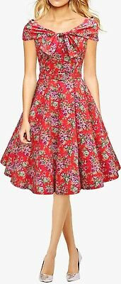 New Red Floral Vintage 50 s Rockabilly Swing Prom Pinup Dress Size 20 e2901319c25
