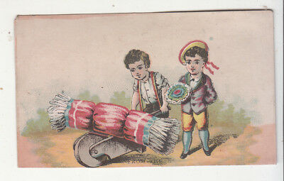 Rolling a Bale of Wheat Hay Boy w Posy Flowers No Advertising Vict Card c 1880s