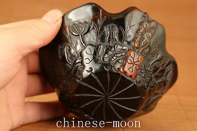 Rare Chinese tibet Old yak horn Hand Carved lotus Statue Bowl Prairie Wine Cup