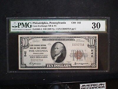 1929 TYPE 1 Ten Dollar PHILADELPHIA NATIONAL BANK NOTE PMG VF30 $10 BILL CH# 542