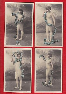Glamour, Risqué Nudes 4 x Postcards, approx 1900's- 1905 By  H.Manuel Paris