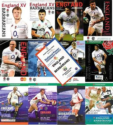ENGLAND v BARBARIANS RUGBY PROGRAMMES 1990 - 2018 inc 01 02 03 04 05 08 09 10