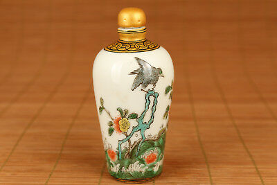 rare Chinese Old Porcelain Hand Painting Rare Flower bird Statue Snuff Bottle