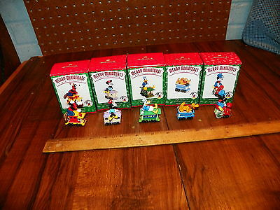 1998 HALLMARK MERRY MINIATURES Set of 5 Xmas Ornaments DISNEY'S MICKEY EXPRESS