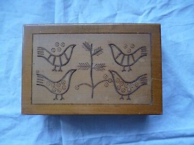 VINTAGE 1972 wooden box for INLAID WITH WIRE/METAL BIRDS TREE