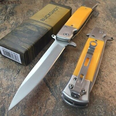 "8.5"" BUCKSHOT TACTICAL Italian Stiletto Spring Assisted Open Pocket Knife CSGO"
