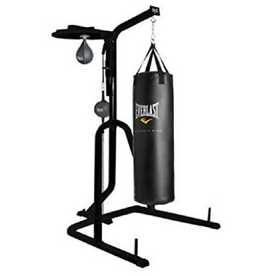 Everlast Three Station Heavy Duty Punching Bag Stand Black Set New Tax Free
