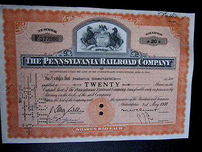"(2)""The Pennsylvania Railroad Company"", Hist. Wertpapier, US - Eisenbahn"