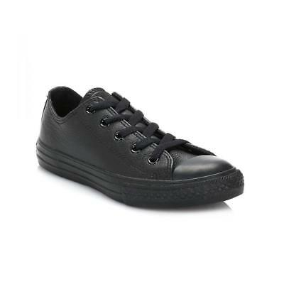 Womens Converse Boys Girls Black Leather School Ladies Juniors Trainers Shoes UK