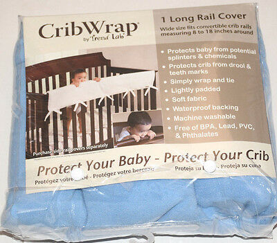 Trend Lab CribWrap Convertible Front Protect Crib Long Rail Guard Cover Blue