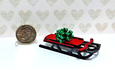 Dollhouse Miniature Sled with Bow - Great for Under Christmas Tree 1:12