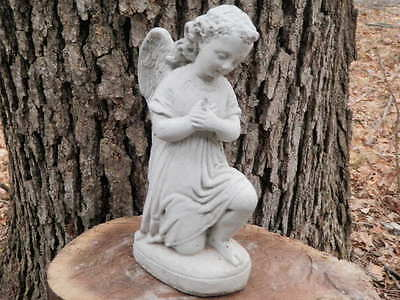 "9"" Tall Cement Kneeling Angel Statue Garden Art Concrete Memorial"