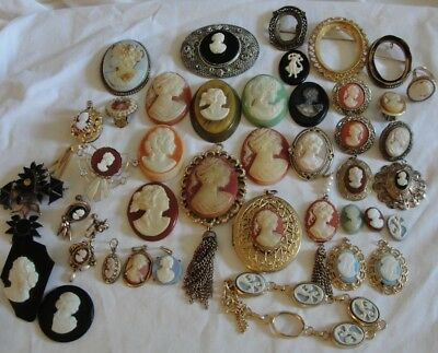 Vtg Antique Craft Repair Lot Of 28 Faux Cameos All Different Unique Sizes Styles