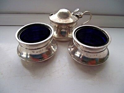ANTIQUE 1933 STERLING SILVER HALLMARKED MUSTARD POT & PAIR OF OPEN SALTS 96.3g