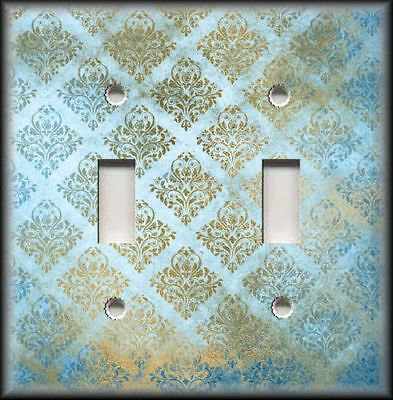 Metal Light Switch Covers - Vintage Design Decor Blue And Gold Damask Design 03