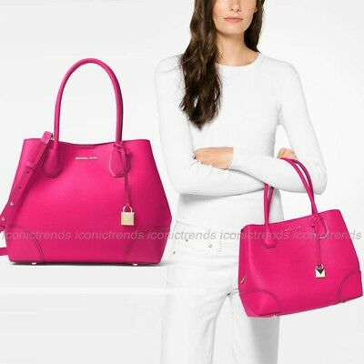 57348dc357 NWT 💕 Michael Kors Mercer Leather Corner Medium Center Zip Tote Ultra Pink  Gold