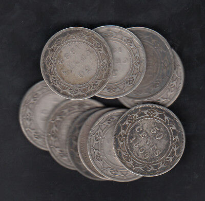 1865-1900 Canada Newfoundland 50 Cents Silver Coins Lot Of 10