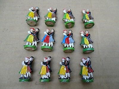 CUCKOO CLOCK DANCING FIGURINES, 12 TOTAL, 3 sets of 4 ALL NOS, IN NICE CONDITION