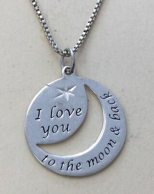 """Beautiful Vintage Sterling Silver 925 'I Love You"""" Moon Necklace 24"""" DHJ9"""
